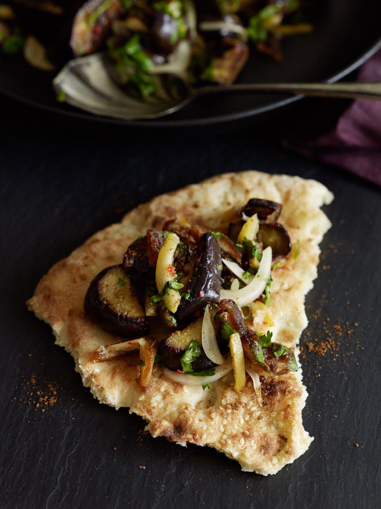 Eggplant & date salad on flat bread