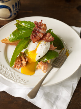Hot-smoked salmon, sorrel, poached eggs $ pancetta