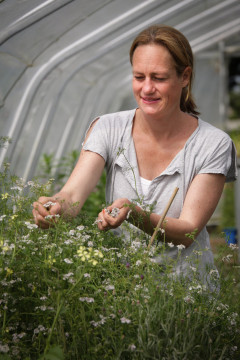 Tamsin Wilson harvesting edible flowers