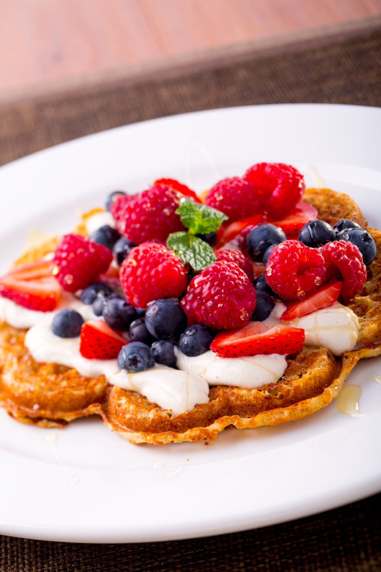 Oat waffles with wild berries