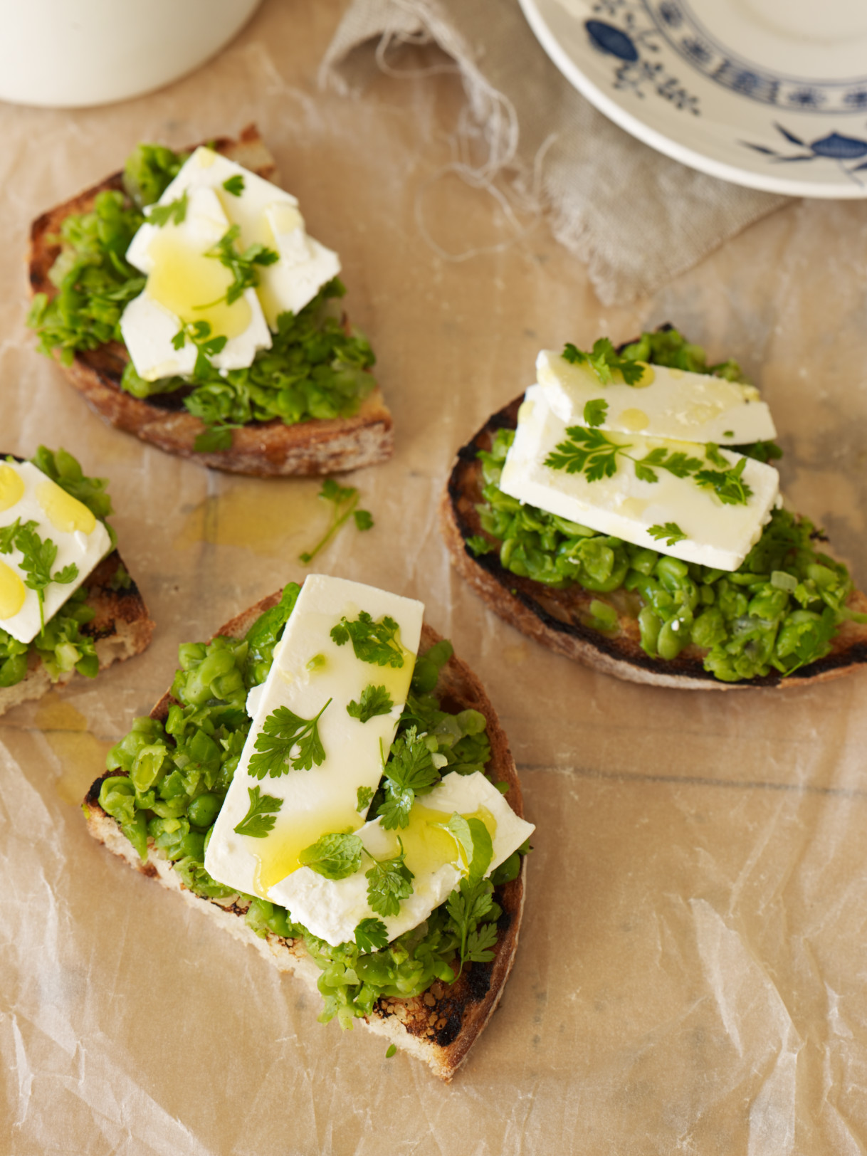 Crushed peas on sourdough
