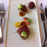 Yellowfin tuna with cucumber, heirloom tomatoes and ginger