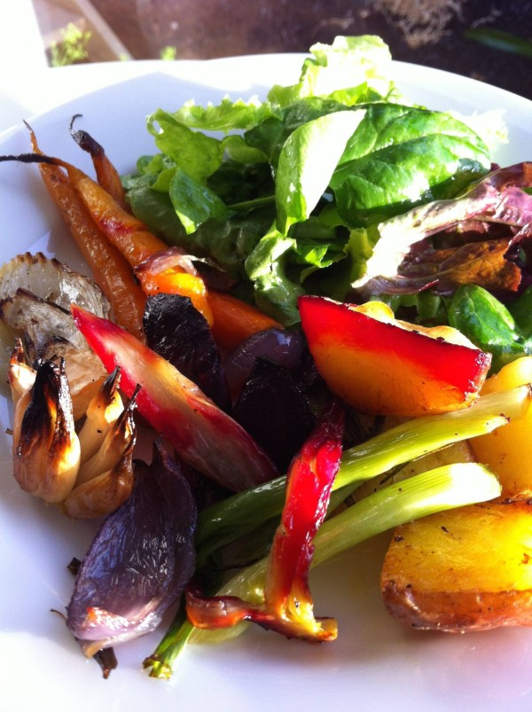 Baked vege and salad