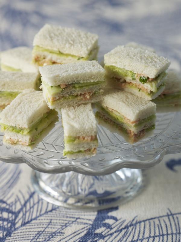 Hot-smoked salmon & cucumber sandwiches