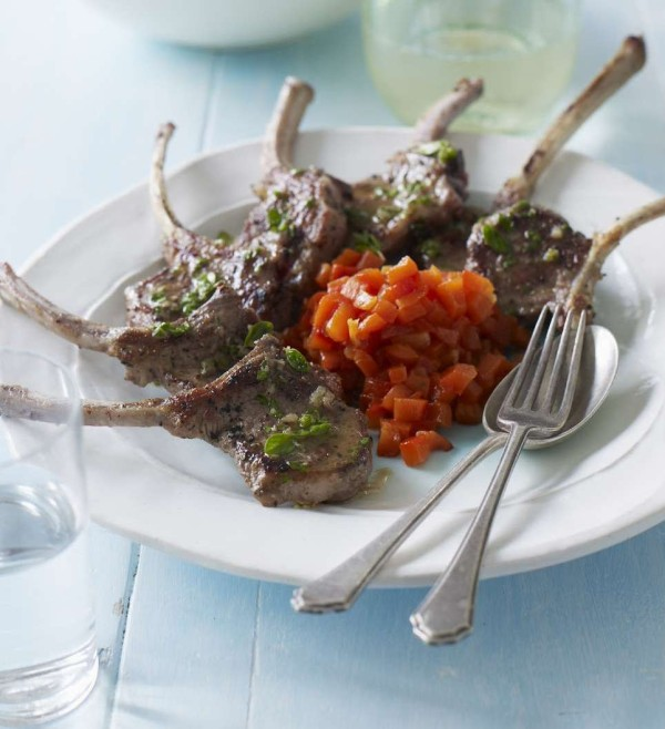 Lamb cutlets with char-grilled red peppers
