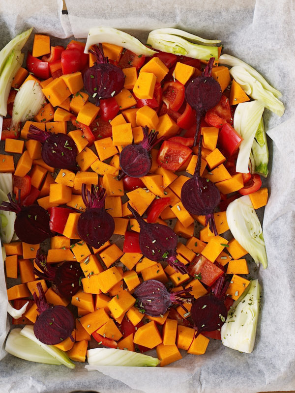 Baked vegetables with sizzled haloumi
