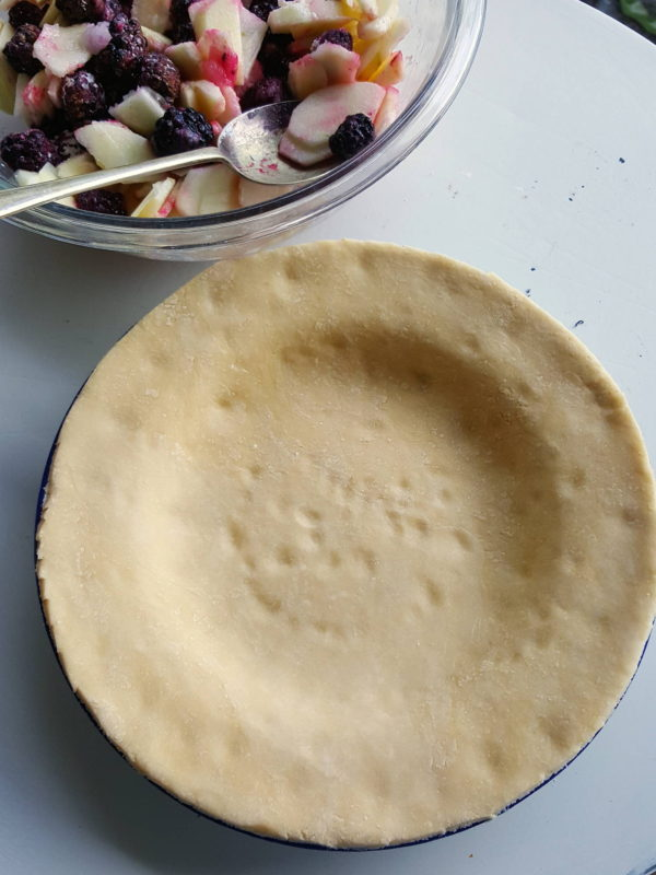 Line pie plate with pastry