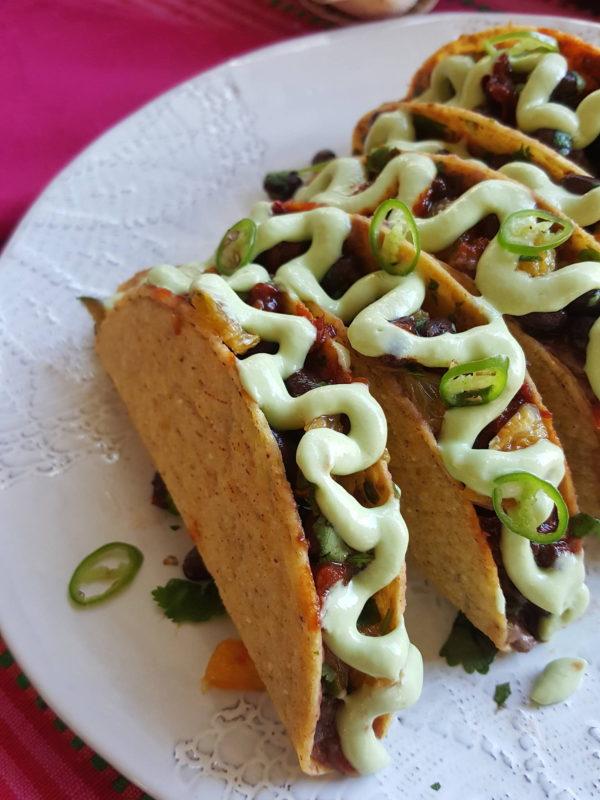Black bean tacos with avocado cream