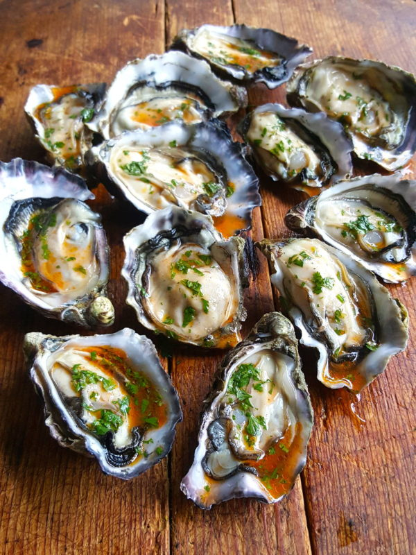 Oysters with sriracha