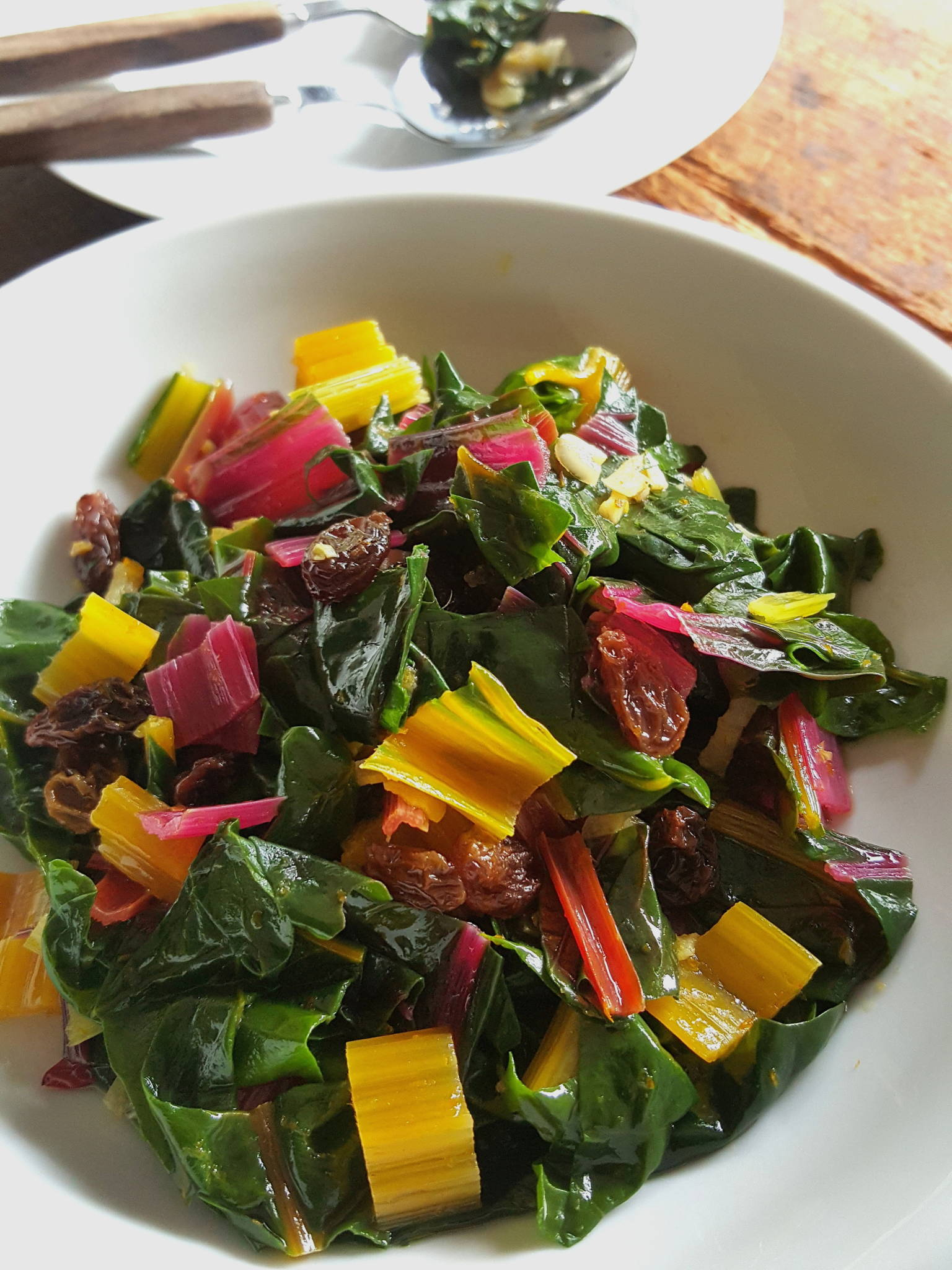 Rainbow chard with raisins 1