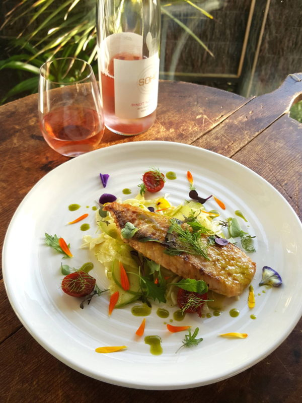 Fish with apple & fennel salad
