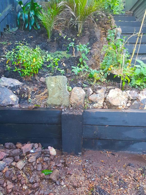 Rock wall damaged