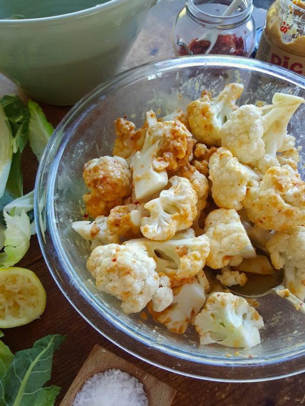 Cauliflower with Spicy Peanut Sauce