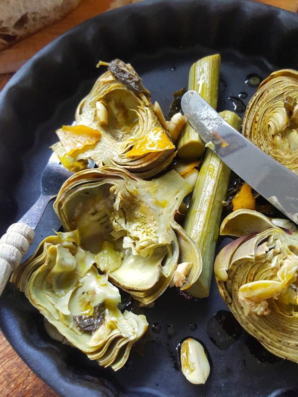 Artichokes with Garlic & Mint