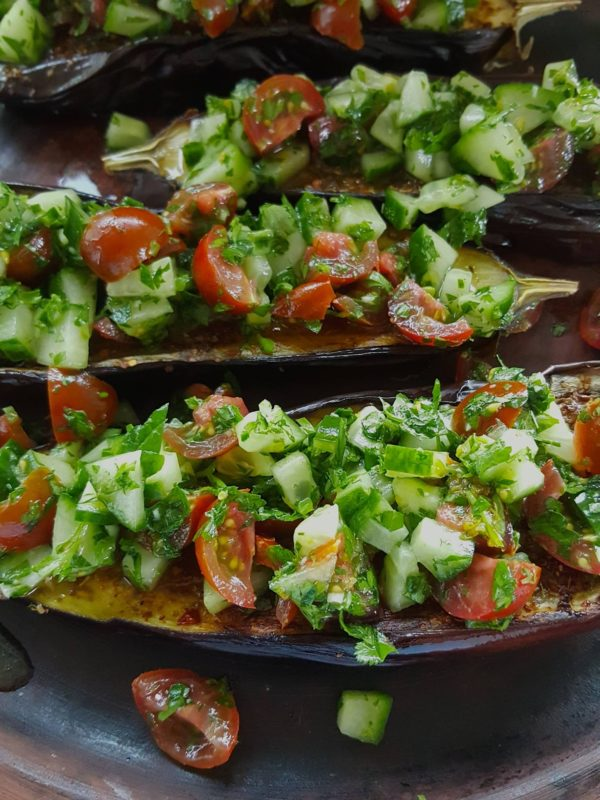 Eggplant with Cucumber & Tomato Salad 7
