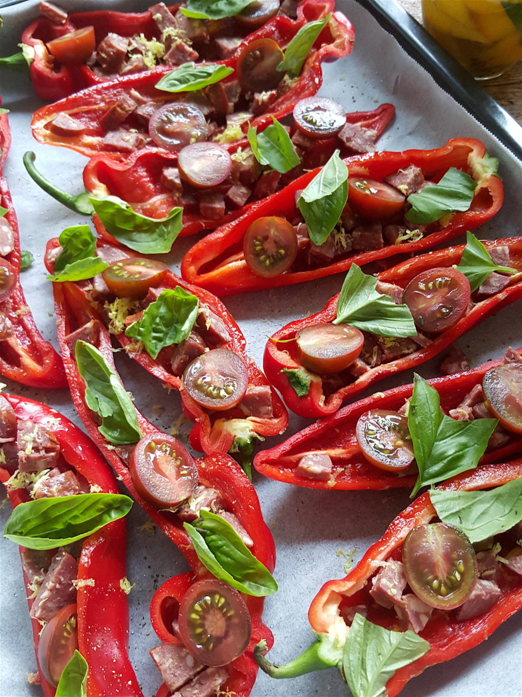 Baked Peppers with Chorizo