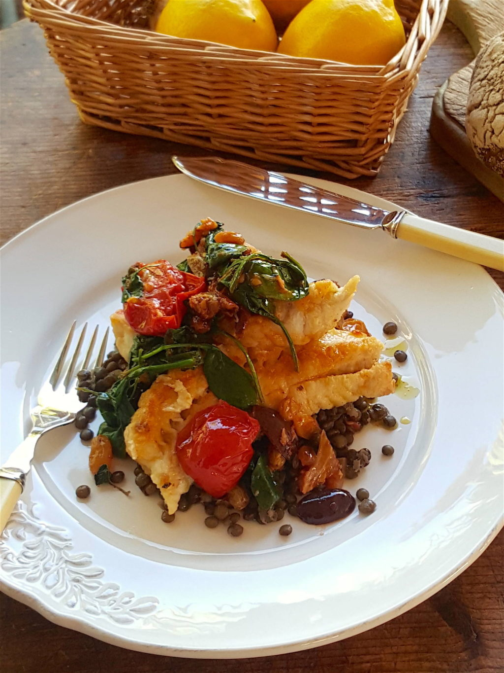 Gingered Fish with Lentils