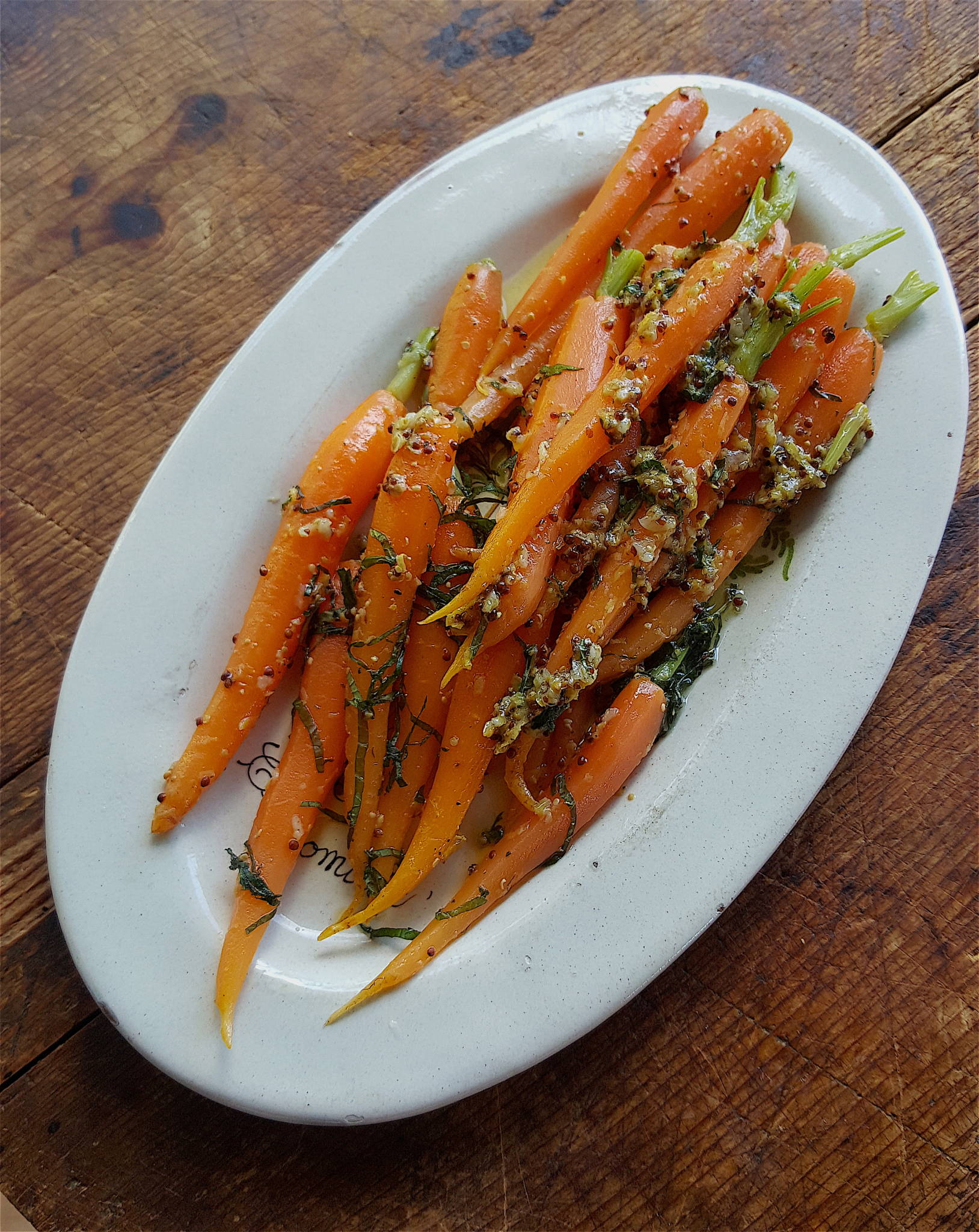 Warm Carrot Salad with Mustard Vinaigrette