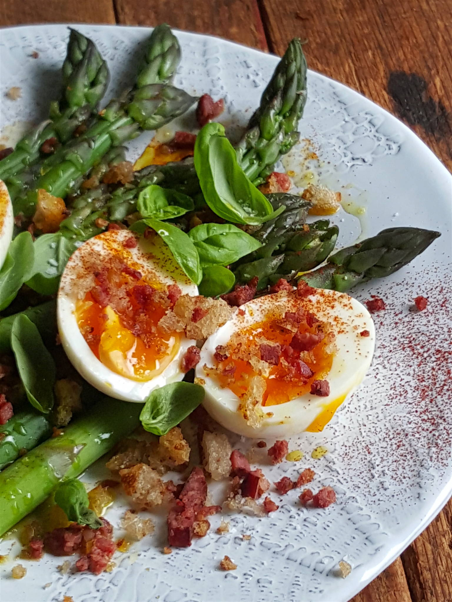 Asparagus with Eggs & Chorizo Crumb