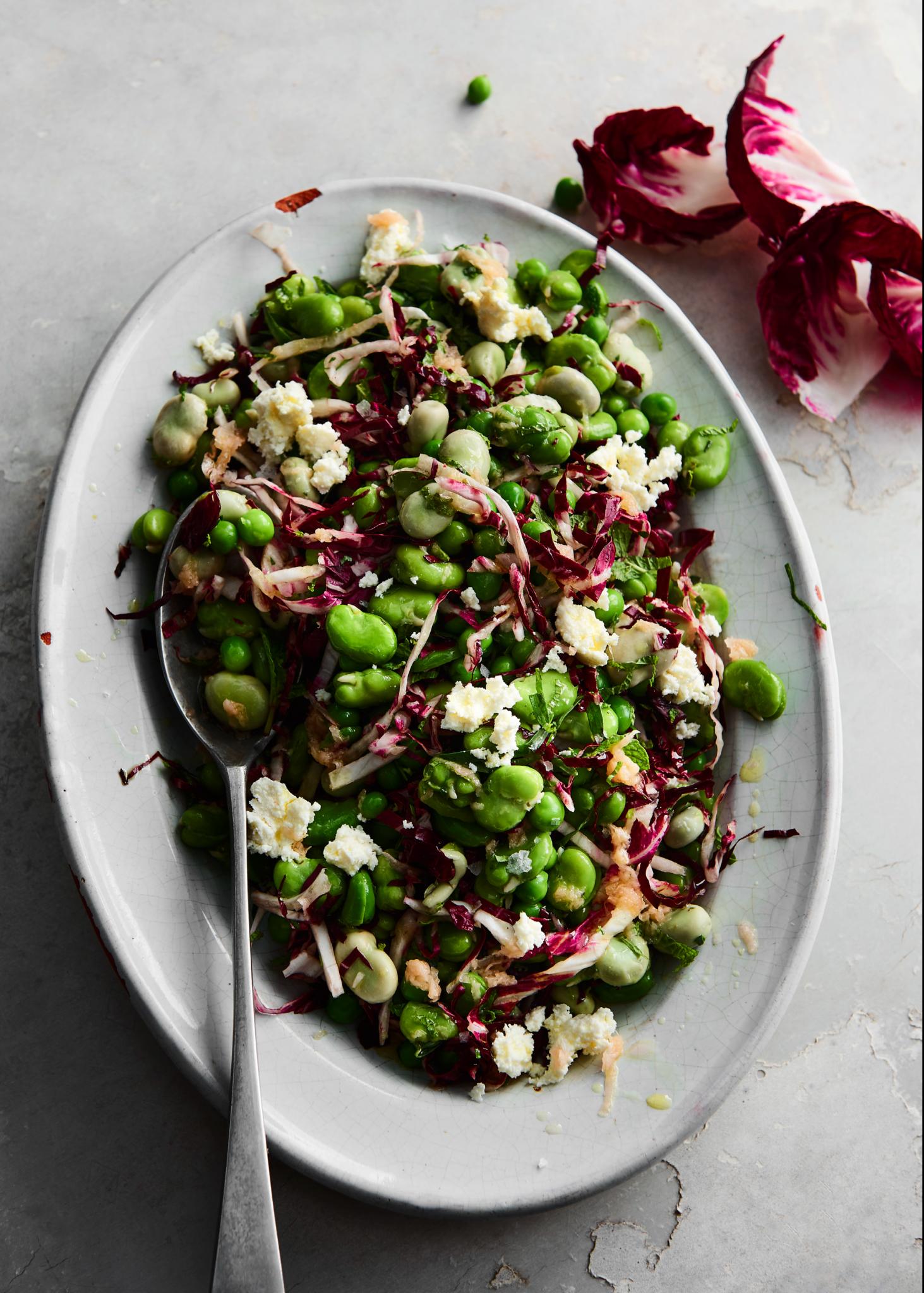 Baby broad bean salad