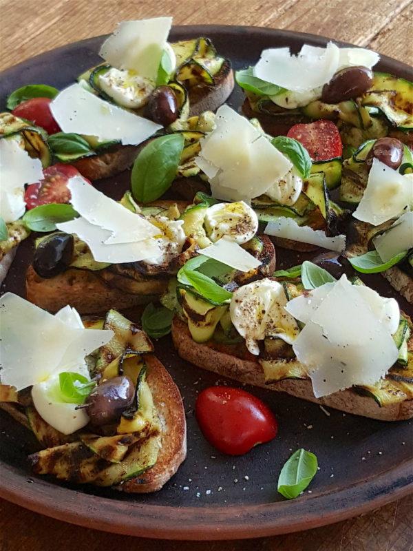 Bruschetta wth Grilled Zucchini & Buffalo Mozzarella