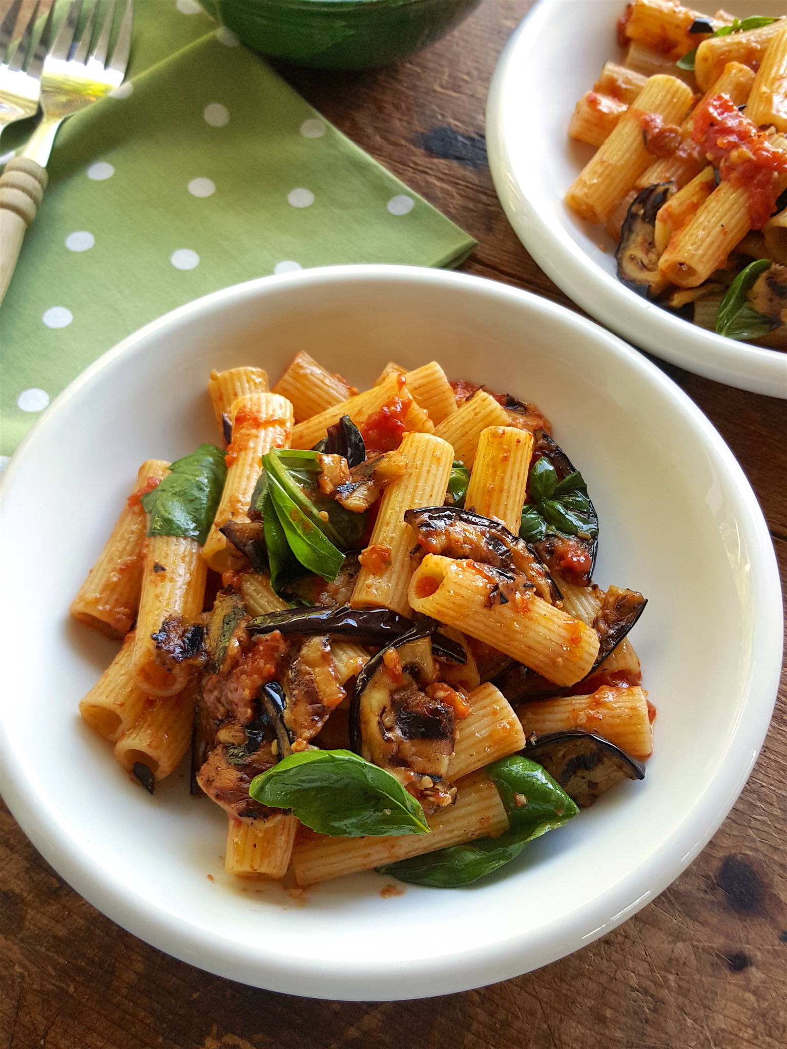 Rigatoni with Eggplant & Roasted Tomatoes