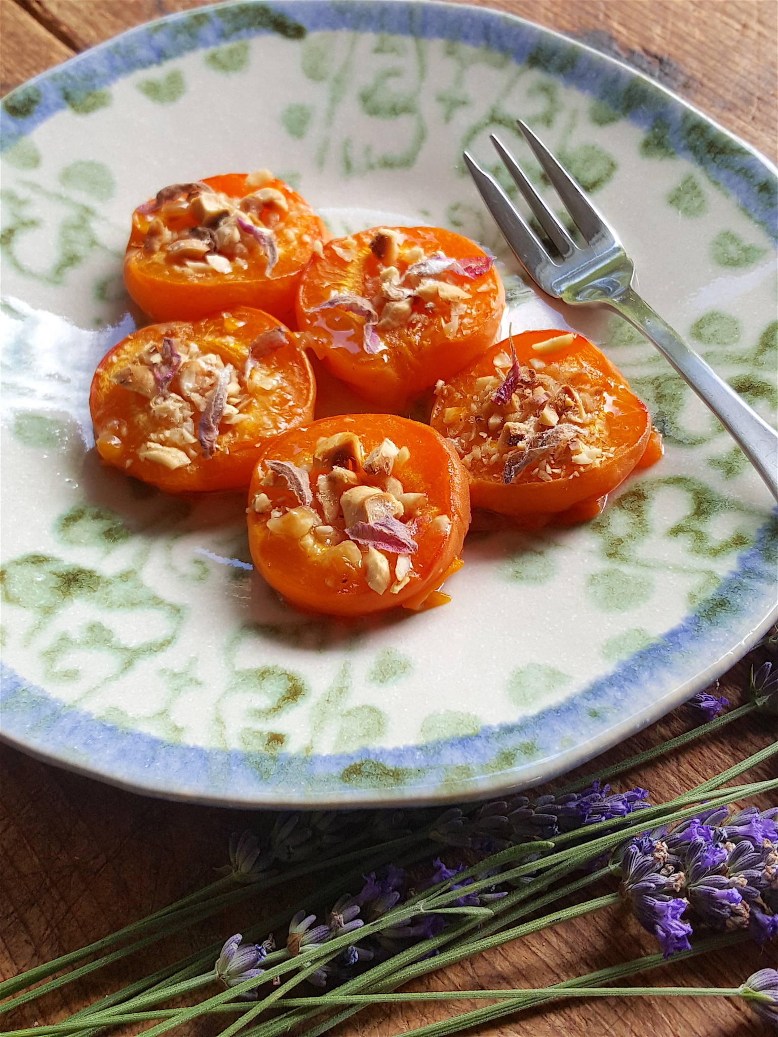 Baked Apricots with Hazelnuts & Lavender 1