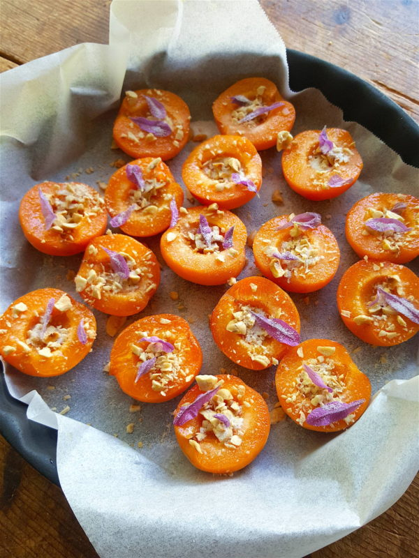 Baked Apricots with Hazelnuts & Lavender