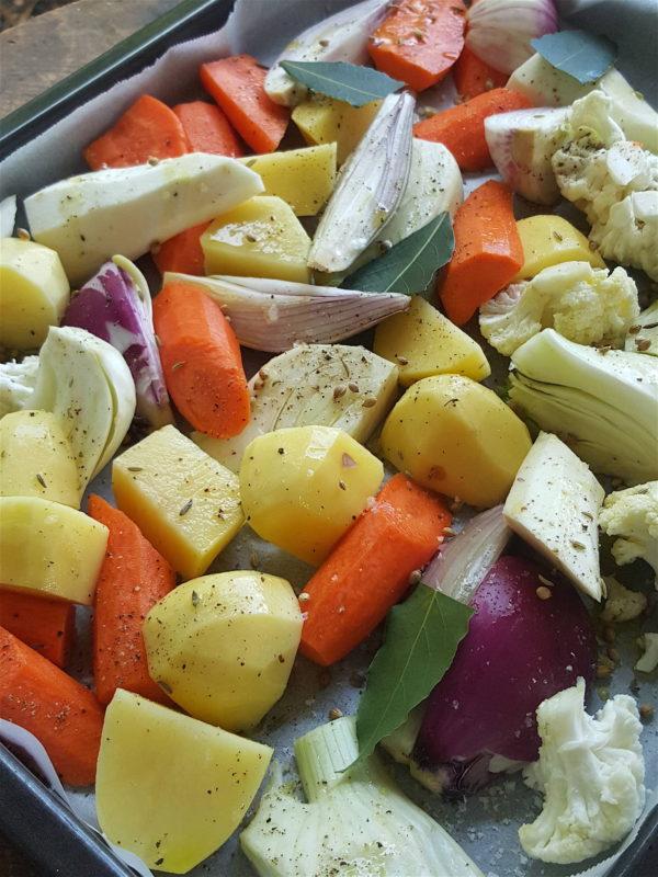 Traybake of winter vegetables