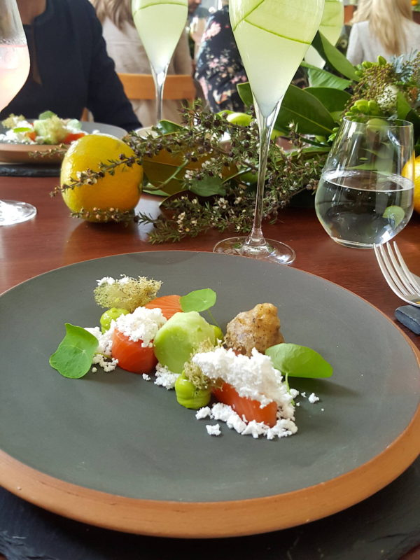French Café Mt Cook salmon, cucumber, nasturtium, charcoal