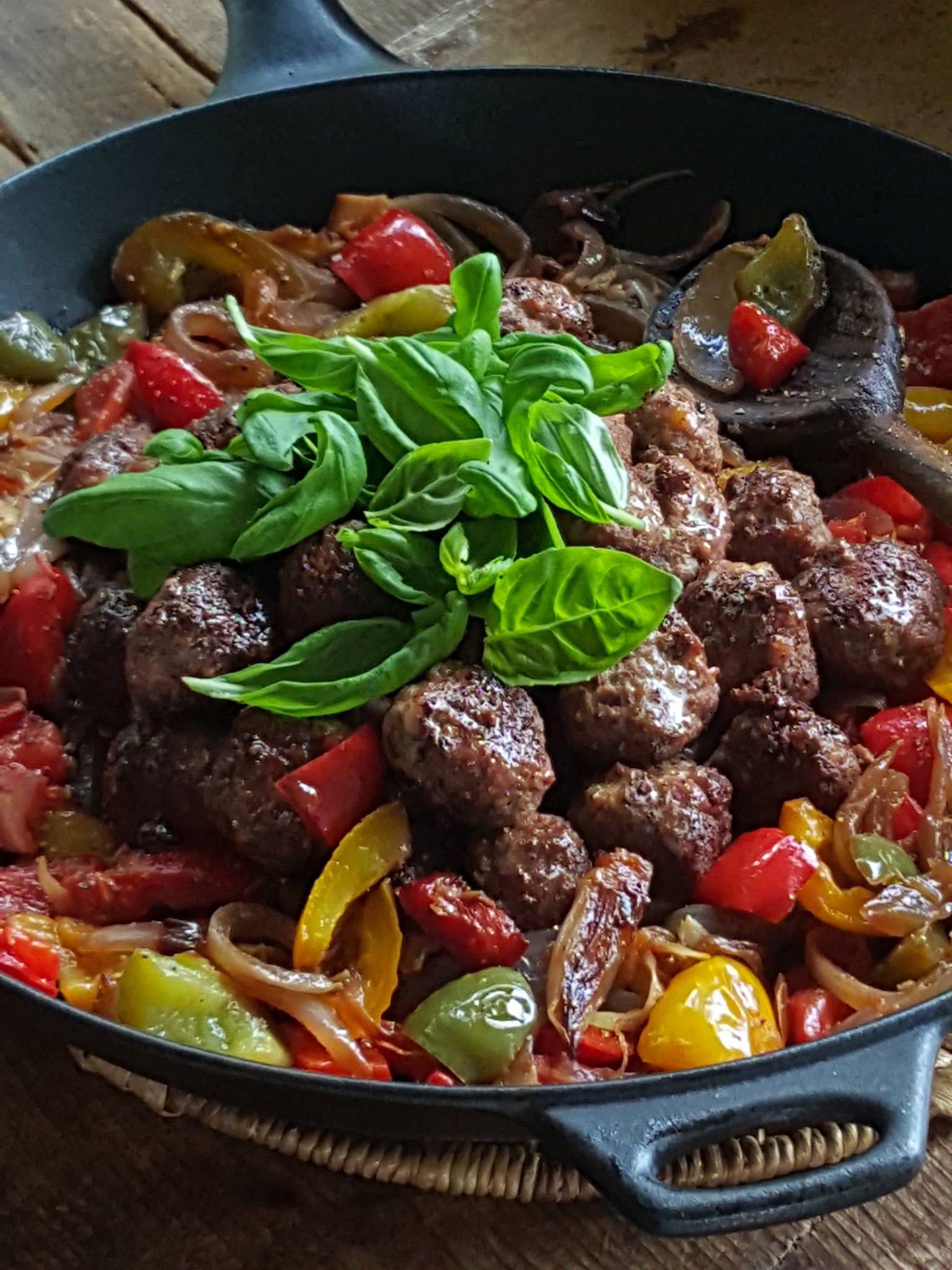 Meatballs with Peppers & Onions