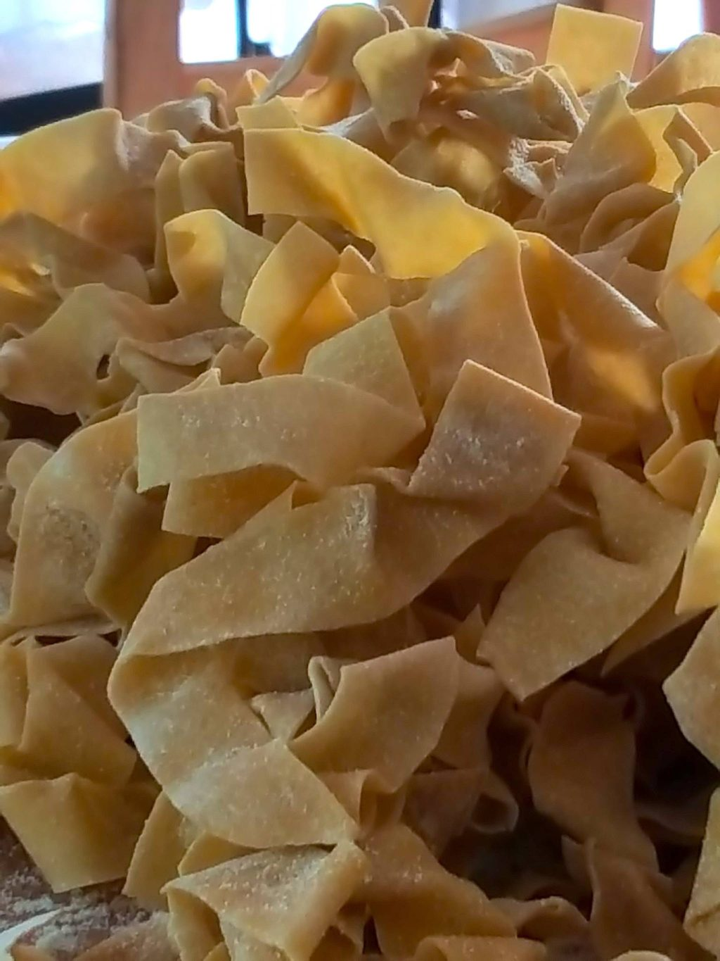 Pappardelle noodles air-drying