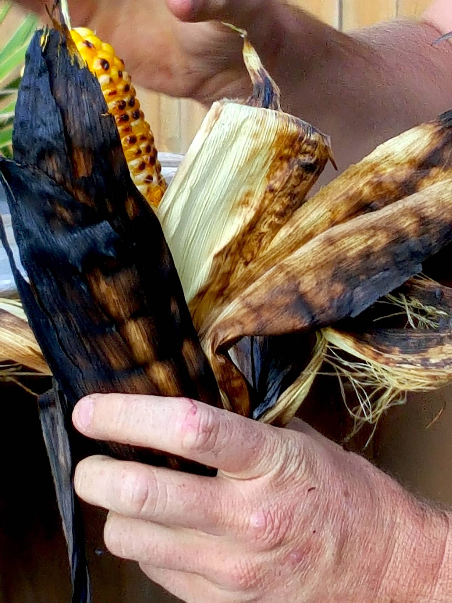 Removing burnt husks from barbecued sweet corn.