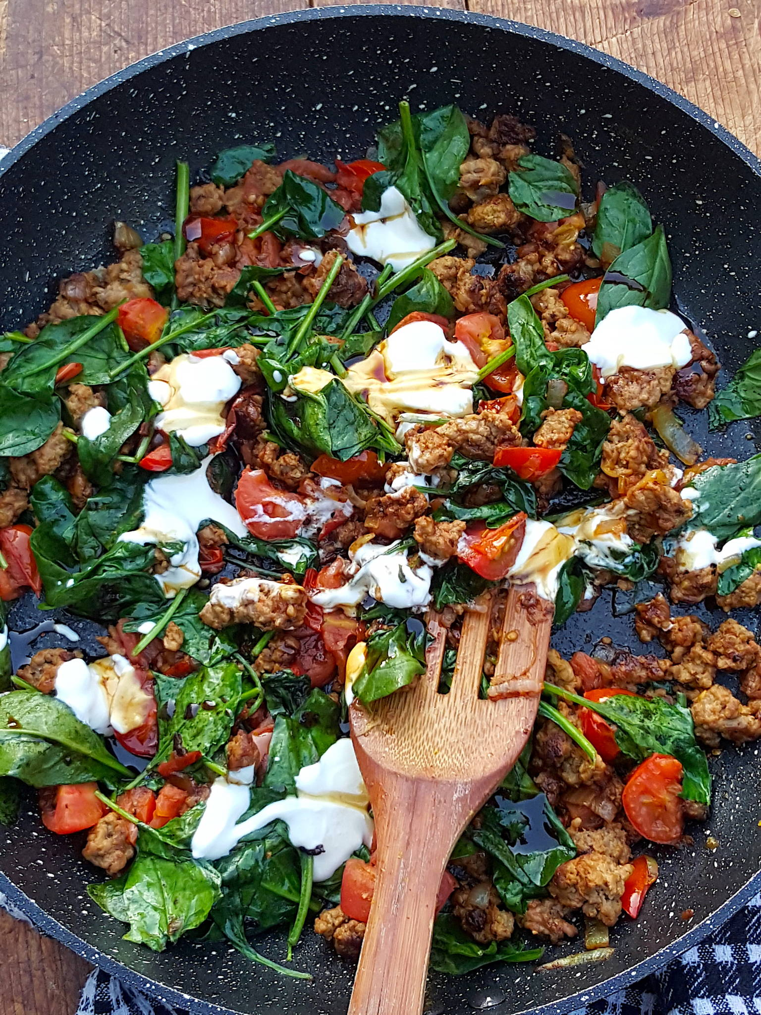 Lamb & Spinach in the Pan