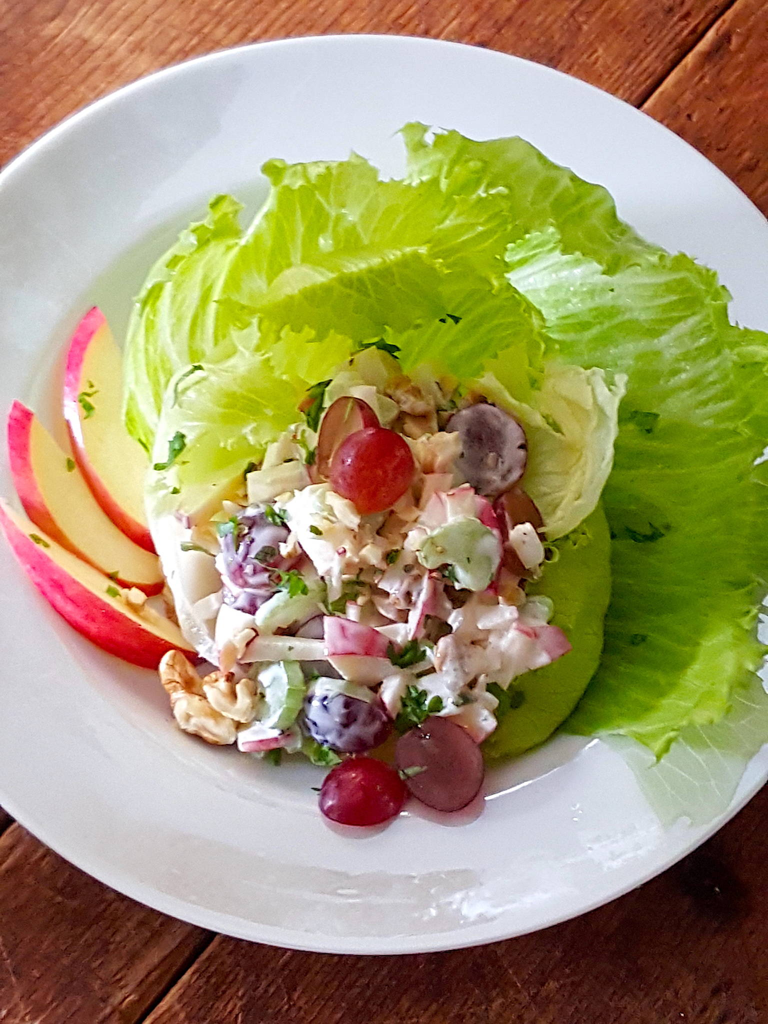 Waldorf Salad with Red Grapes