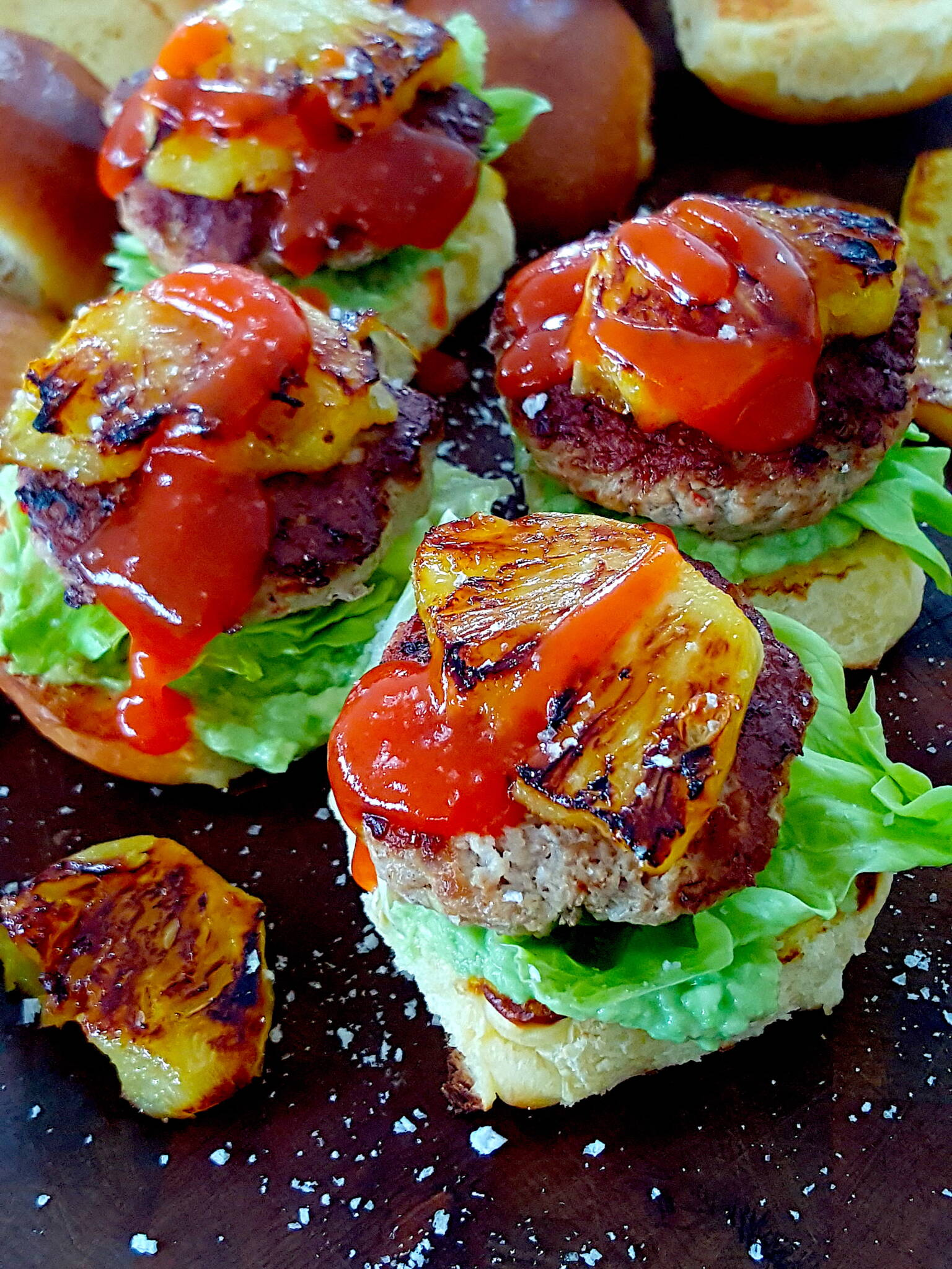 Pork Burgers with Grilled Pineapple