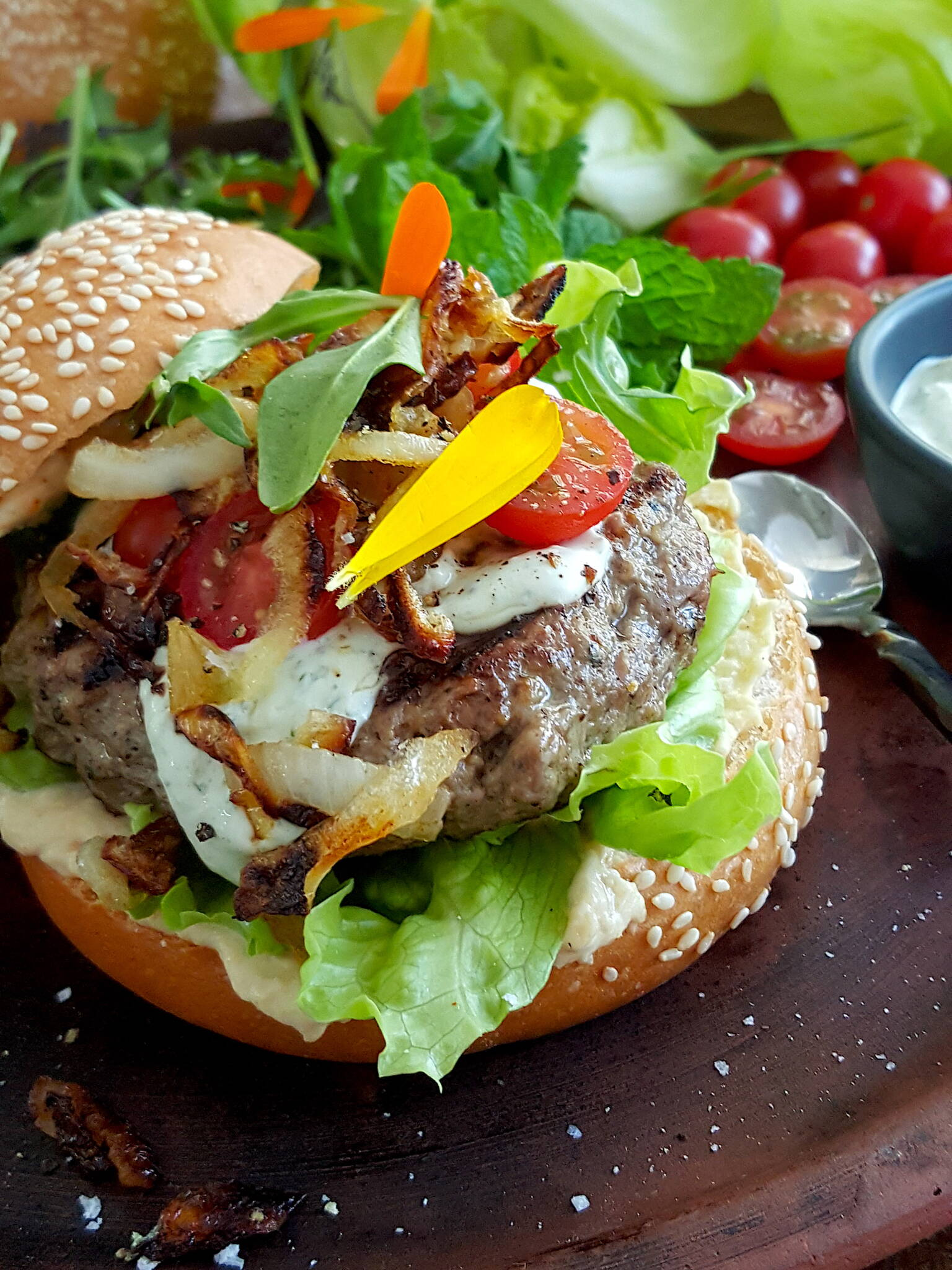 Greek Lamb Burger with Creamy Feta Dressing