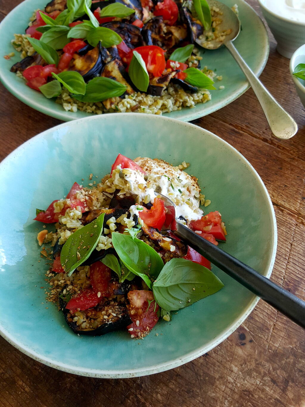 Barbecued Eggplant with Freekeh