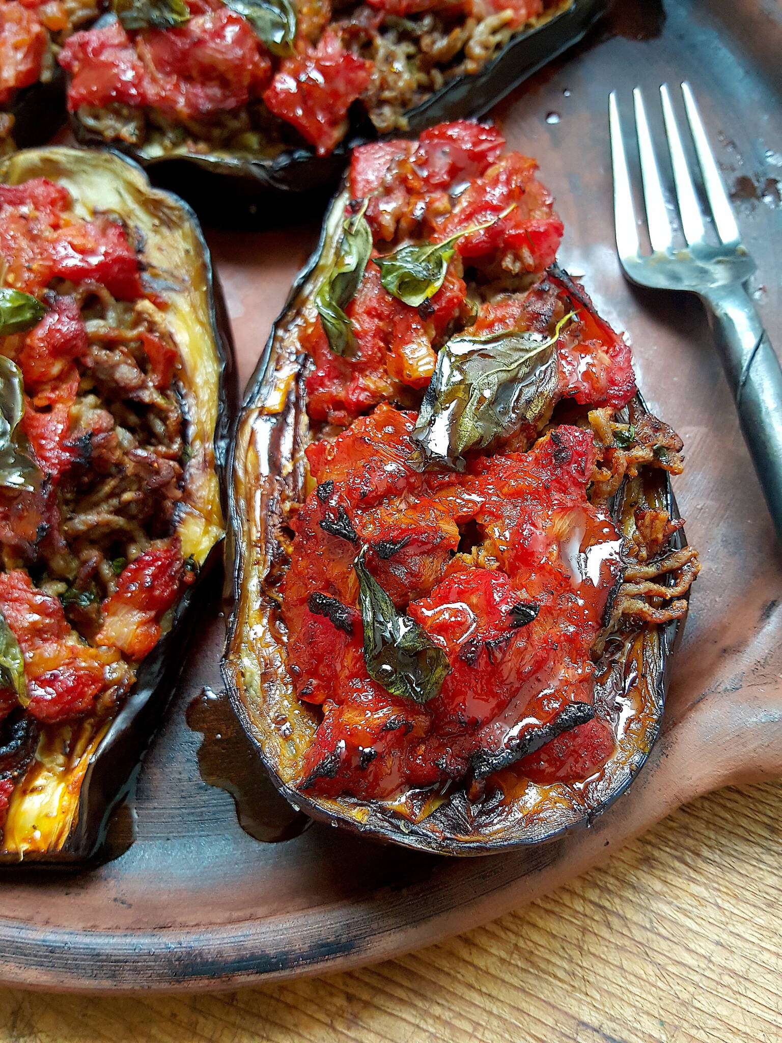Baked Eggplants with Spiced Lamb