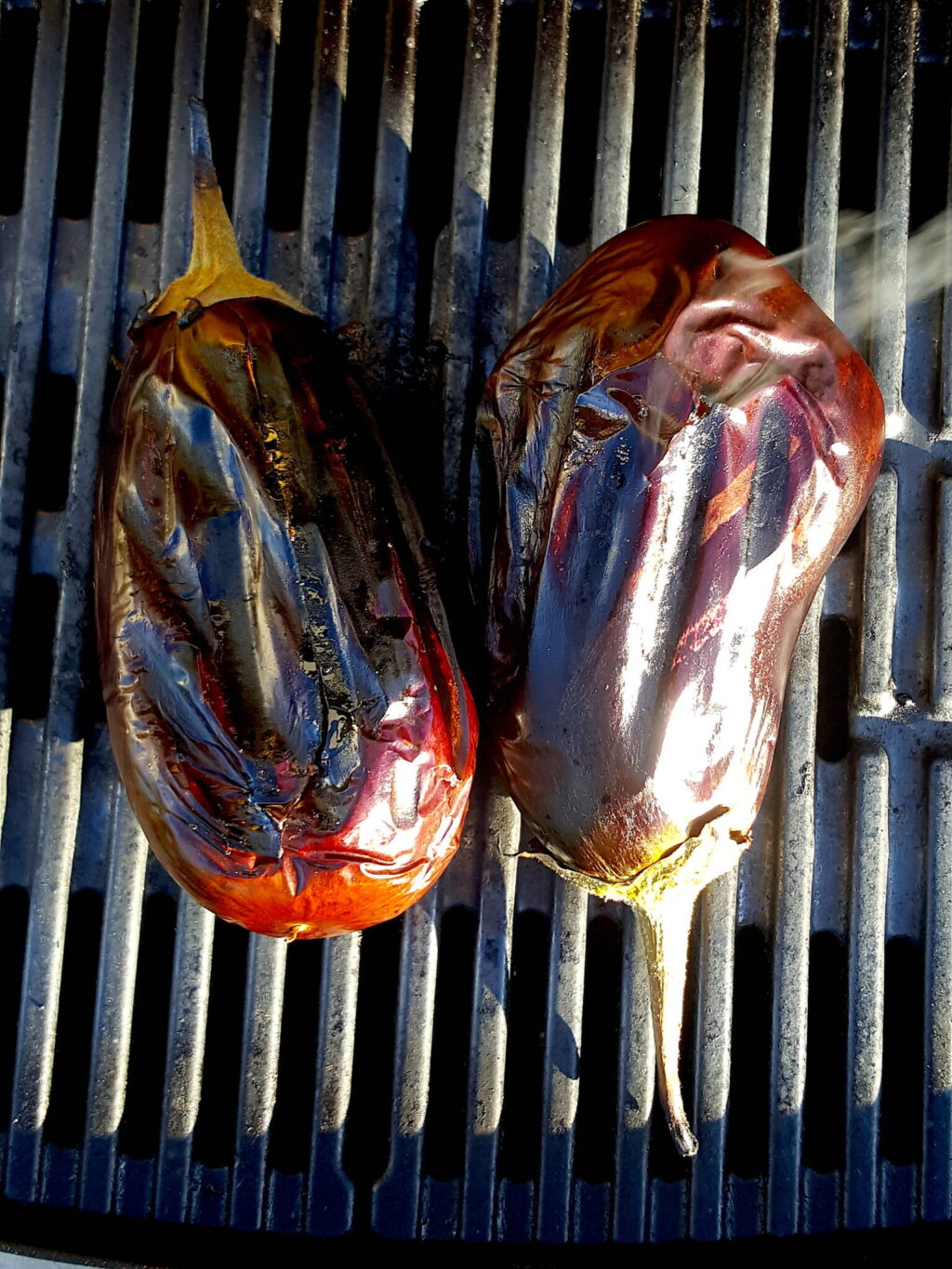 Grilling eggplant for Baba Ghanoush