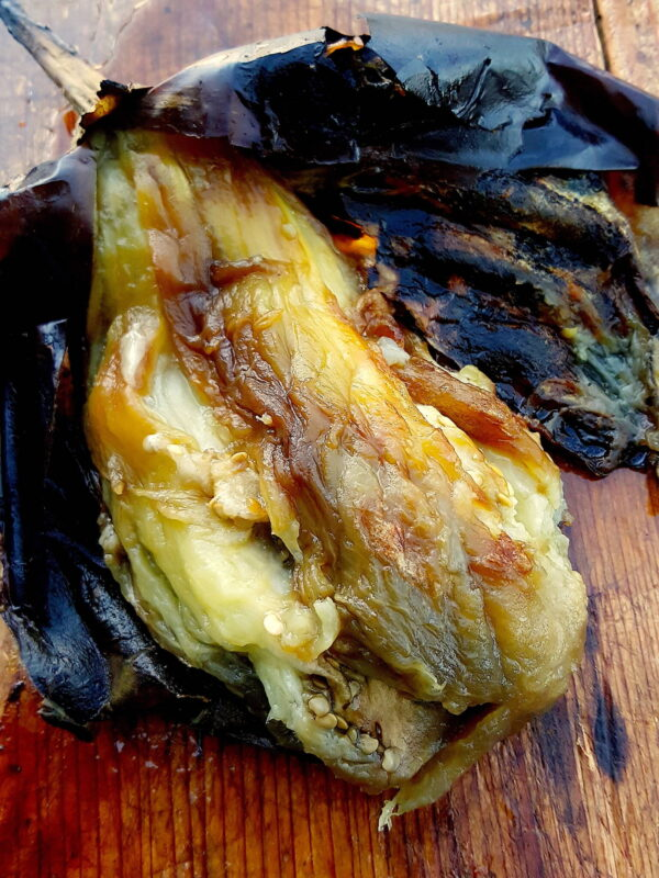 Grilled eggplant for Baba Ghanoush