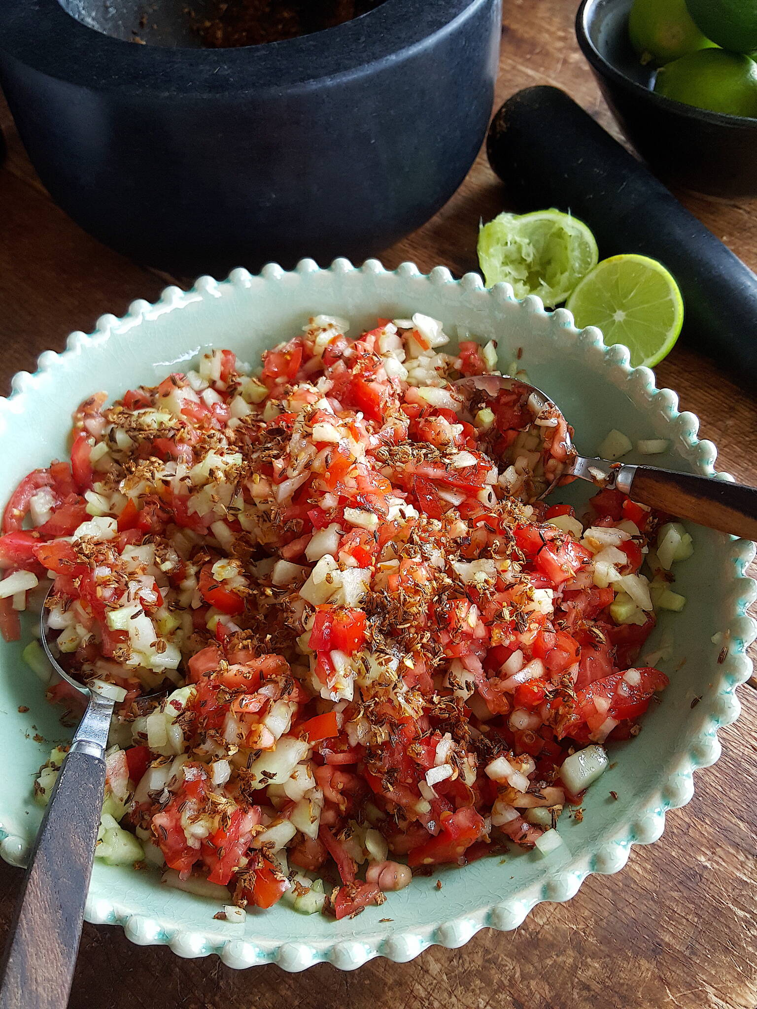 Cucumber & Tomato Salad with Tabil
