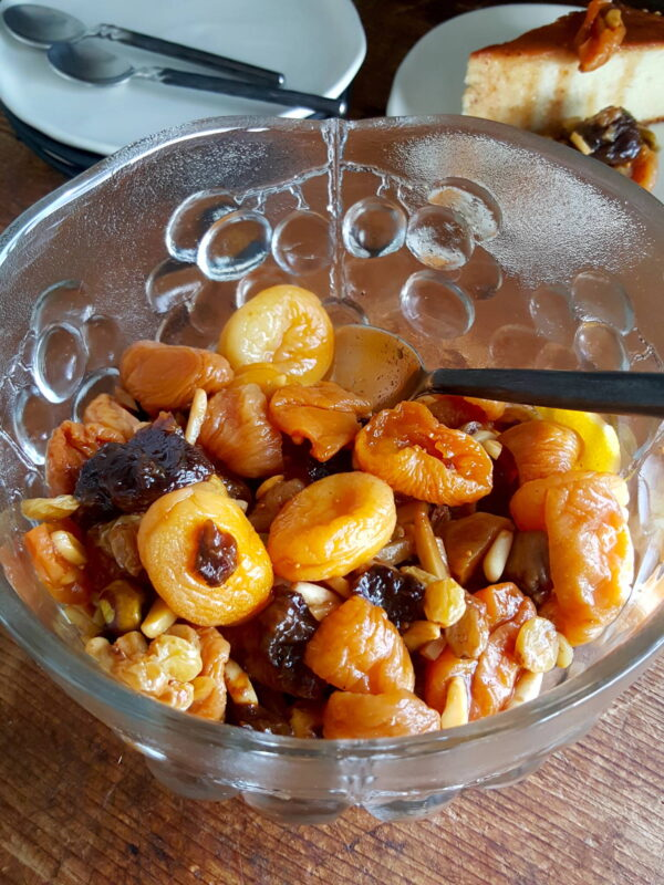 Khoshaf – a bowl of exotic fruits plumped in syrup & rosewater