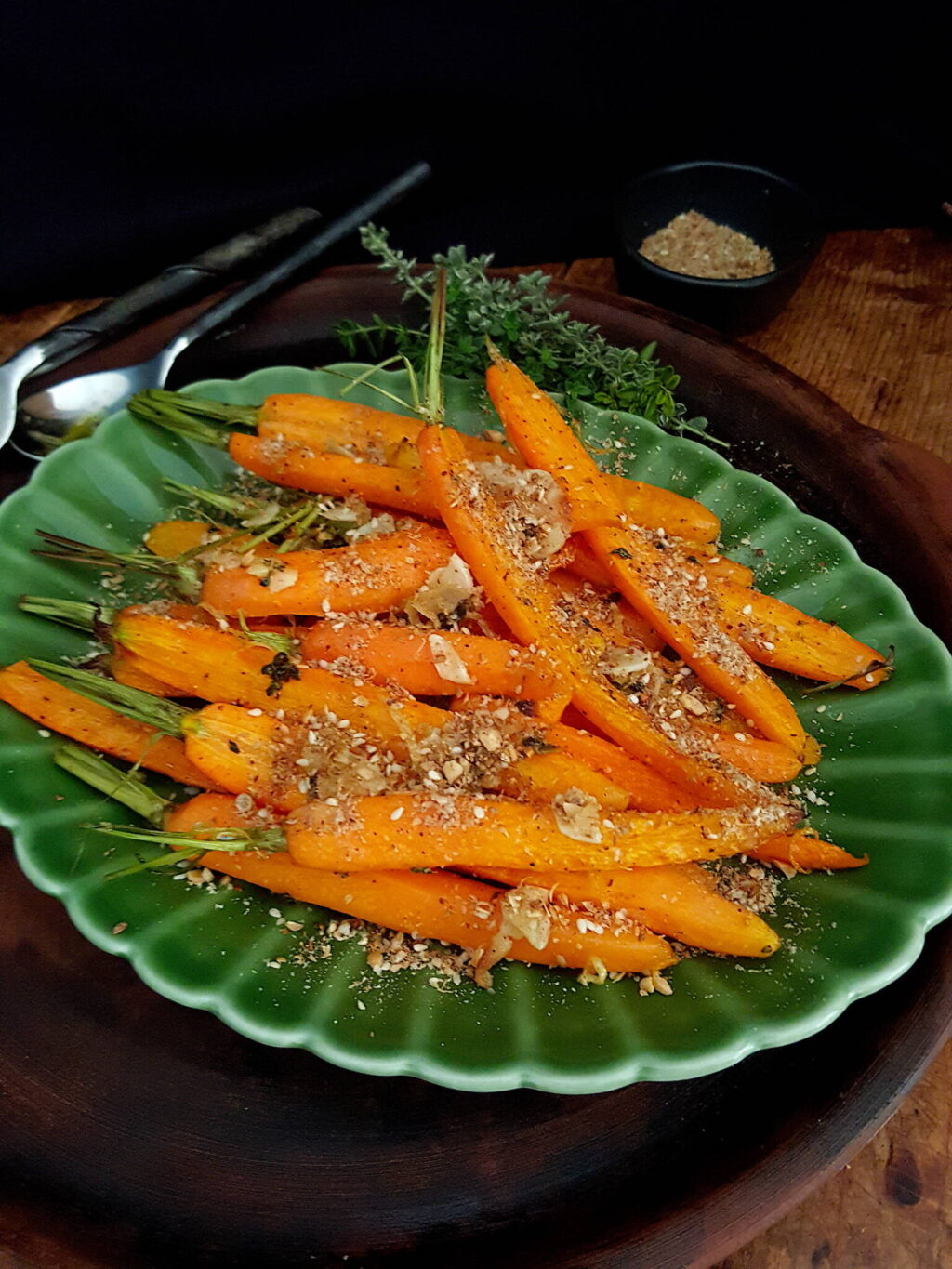 Roasted Carrots with Thyme & Dukkah
