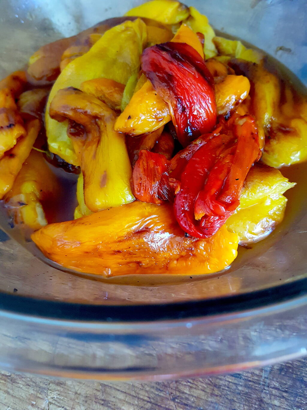 Grilled, peeled peppers